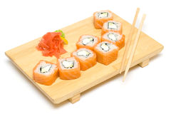 Sushi Roll with Salmon Isolated Royalty Free Stock Photo