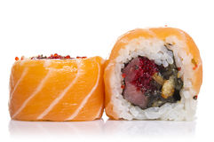 Sushi roll with salmon isolated Stock Images