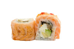 Sushi roll with salmon isolated on white background. Sushi roll with grilled salmon isolated on white background Stock Image