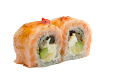 Sushi roll with salmon isolated on white background. Sushi roll with grilled salmon isolated on white background Royalty Free Stock Photo