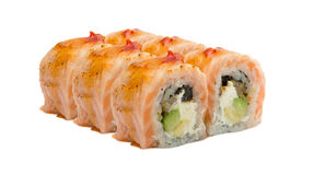 Sushi roll with salmon isolated on white background Royalty Free Stock Photo
