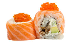 Sushi roll with salmon isolated on white background. Sushi roll philadelphia with salmon isolated on white background Stock Photos