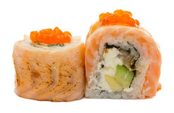 Sushi roll with salmon isolated on white background Royalty Free Stock Image