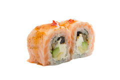 Sushi roll with salmon isolated on white background Stock Photo