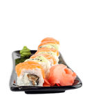 Sushi roll with salmon and kiwi Royalty Free Stock Image
