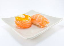 Sushi roll and salmon nigiri sushi Royalty Free Stock Photo