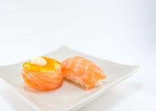 Sushi roll and salmon nigiri sushi Stock Image