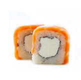 Sushi roll with  salmon and philadelphia cheese Stock Photo