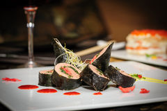 Sushi roll with salmon Royalty Free Stock Photos