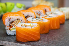 Sushi roll with salmon and shrimp Stock Photography