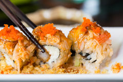Sushi roll with salmon and shrimp tempura Royalty Free Stock Photos