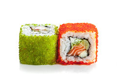Sushi roll with salmon and spawn Royalty Free Stock Image