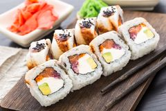 Sushi roll with salmon, tuna and eel Royalty Free Stock Photography