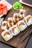 Sushi roll with salmon, tuna and eel Royalty Free Stock Images