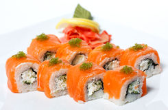 Sushi Roll with salmon, wasabi, cucumber Royalty Free Stock Photography