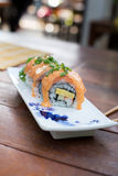 Sushi roll with salmon Stock Photography