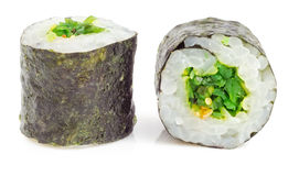 Sushi roll with seaweed salad Stock Photos