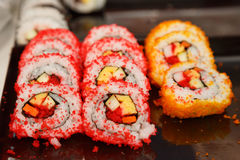 Sushi roll for sell in thai market, thailand Royalty Free Stock Images
