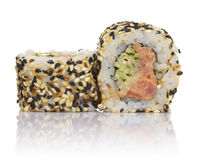Sushi roll with sesame isolated Royalty Free Stock Photos