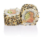 Sushi roll with sesame isolated Royalty Free Stock Image