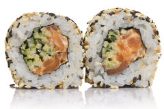 Sushi roll with sesame isolated Royalty Free Stock Images