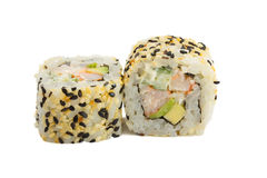 Sushi roll with sesame isolated on white background Stock Image