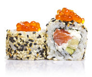 Sushi roll with sesame and red roe Stock Photos