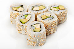 Sushi roll with  sesame sliced Royalty Free Stock Photo