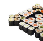 Sushi roll set isolated on white. With different stuffing Stock Image