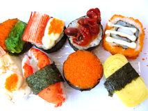 Sushi roll set in transparent plastic box Royalty Free Stock Image