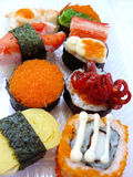 Sushi roll set in transparent plastic box Royalty Free Stock Photography
