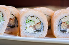 Shrimp and eel sushi roll Stock Photos