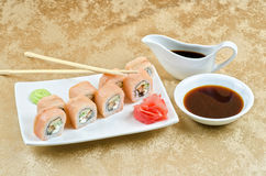 Shrimp and eel sushi roll Stock Images