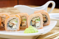 Shrimp and eel sushi roll Royalty Free Stock Image