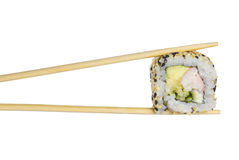 Sushi roll with shrimp sushi roll in chopsticks isolated Stock Photo