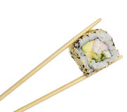 Sushi roll with shrimp sushi roll in chopsticks isolated Stock Photos