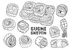 Sushi roll sketch set. Hand drawing Japanese cuisine. All elements are isolated in white background