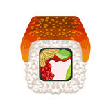Sushi roll with smoked eel topped, traditional Japanese cuisine. Colorful cartoon illustration Royalty Free Stock Photography