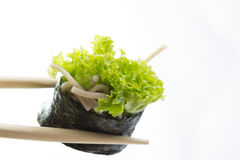 Sushi roll with soba noodles isolated Royalty Free Stock Images