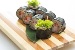 Sushi roll with soba noodles isolated Stock Image