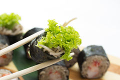 Sushi roll with soba noodles isolated Royalty Free Stock Image