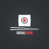 Sushi roll social concept design background. 8 eps Royalty Free Stock Photos