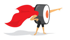 Sushi roll super hero with cape pointing forward Stock Photography