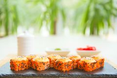 Sushi roll sushi with fish, cream cheese and vegetables. Sushi menu. Japanese food Stock Photos