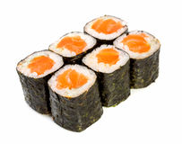 Sushi (Roll syake maki) on a white background Stock Image
