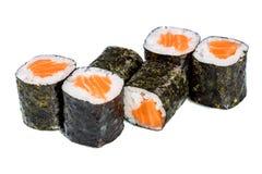 Sushi (Roll syake maki) on a white background Stock Image