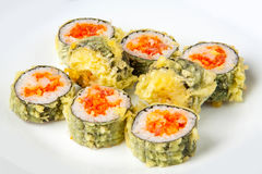 Sushi roll with tempura tuna and salmon Royalty Free Stock Images
