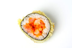 Sushi roll with tempura tuna and salmon Stock Images