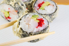 Sushi roll in tempura Royalty Free Stock Photography