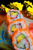 Sushi roll. With tobiko crab, avocado, cucumber and rice Stock Images